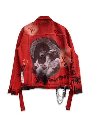 Idolize Red Denim Jacket
