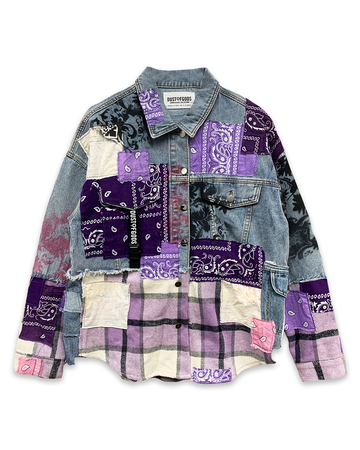 Purple Bandana Half/Half Denim Jacket