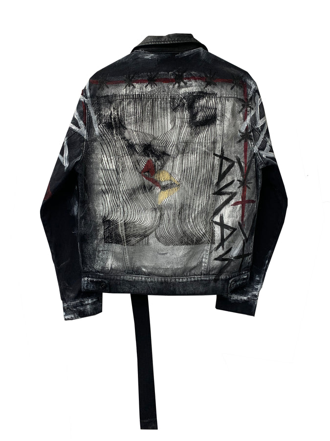 BLACK DENIM GRAFFITI JACKET