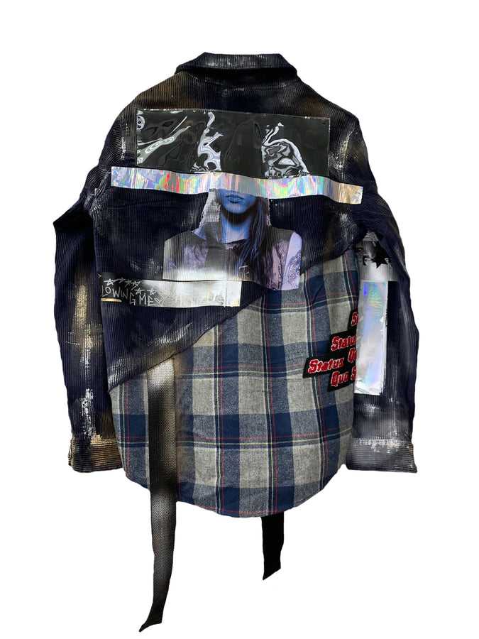 Corduroy X Plaid Extended Jacket