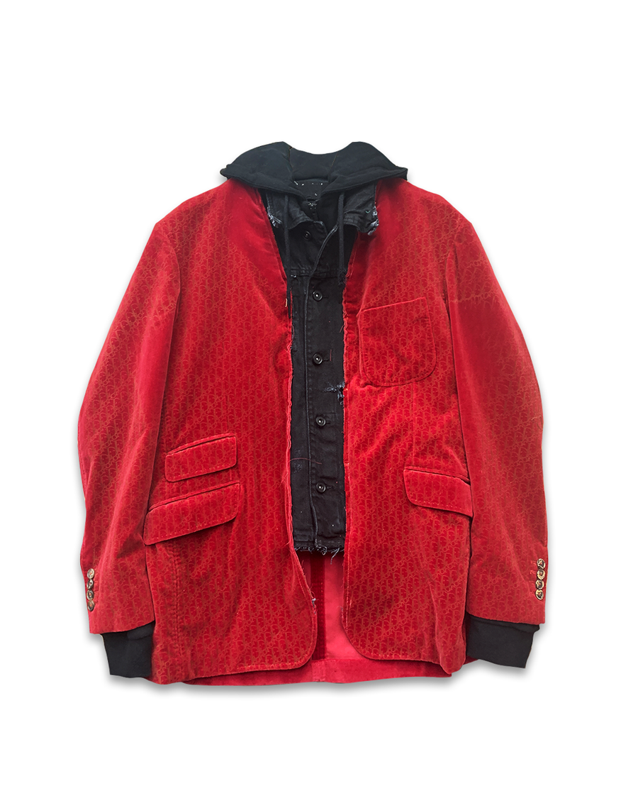 Identity Hooded Red Velvet Jacket/Blazer