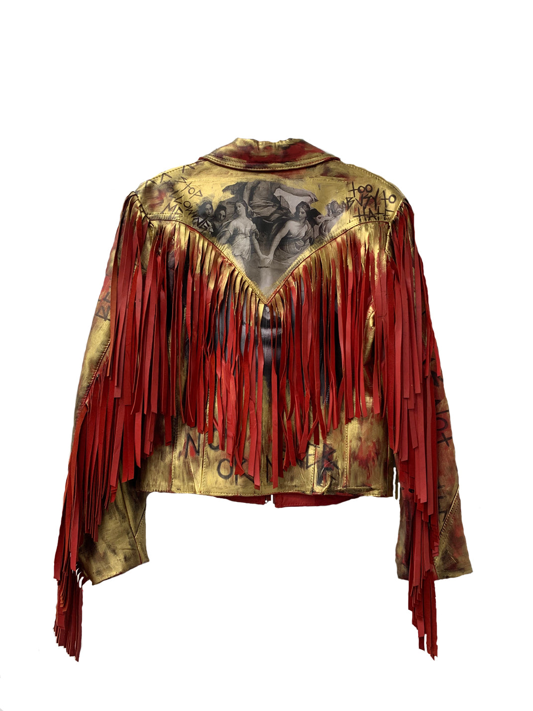 Red Leather Fringe Jacket