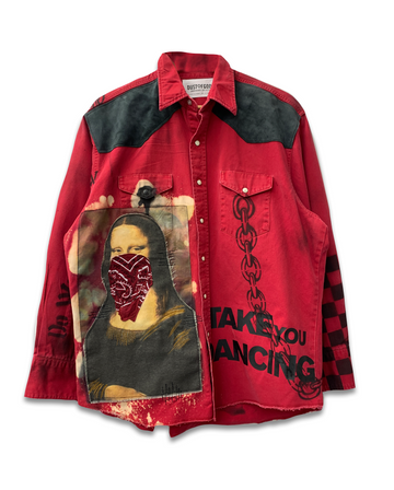 Take You Dancing Red Denim Jacket