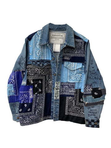 BLUE BANDANA DENIM JACKET