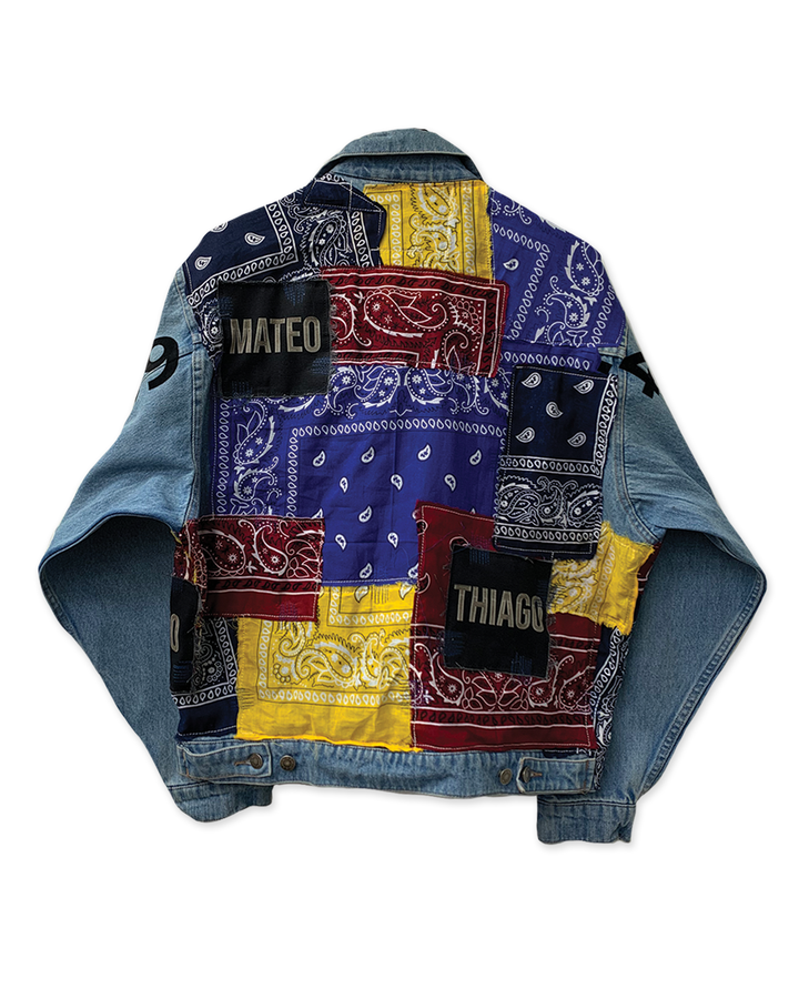 MULTI-COLOUR BANDANA DENIM JACKET