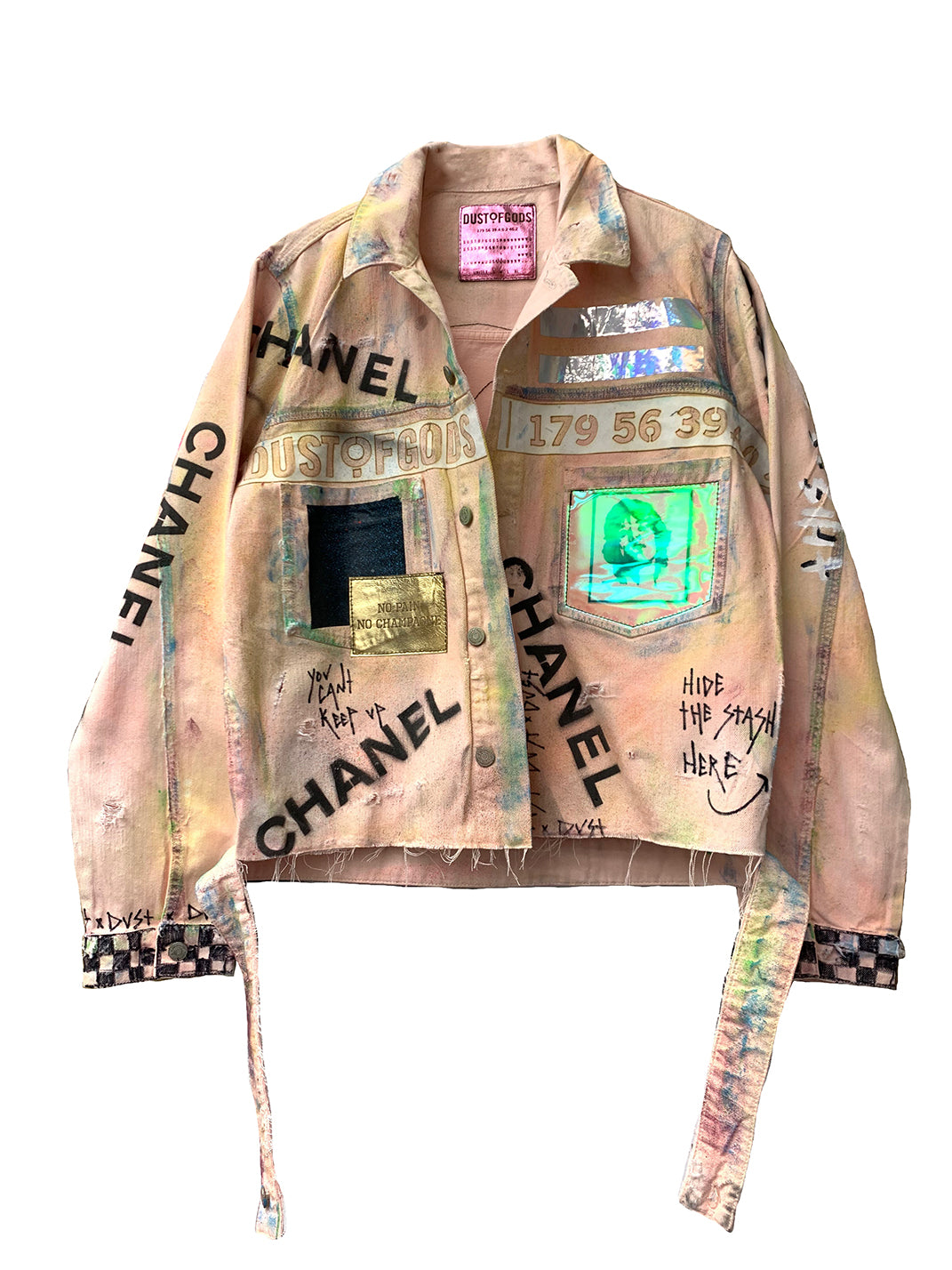 This is not chanel pink denim jacket