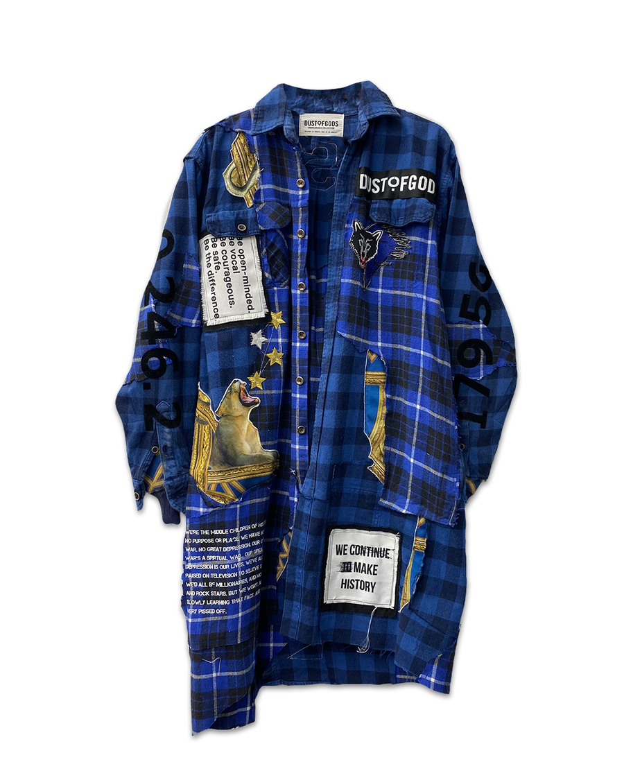 Blue Derulo Patchwork Long Plaid Shirt