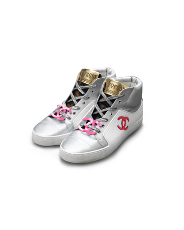 Dusted Chanel Silver High Top Trainers