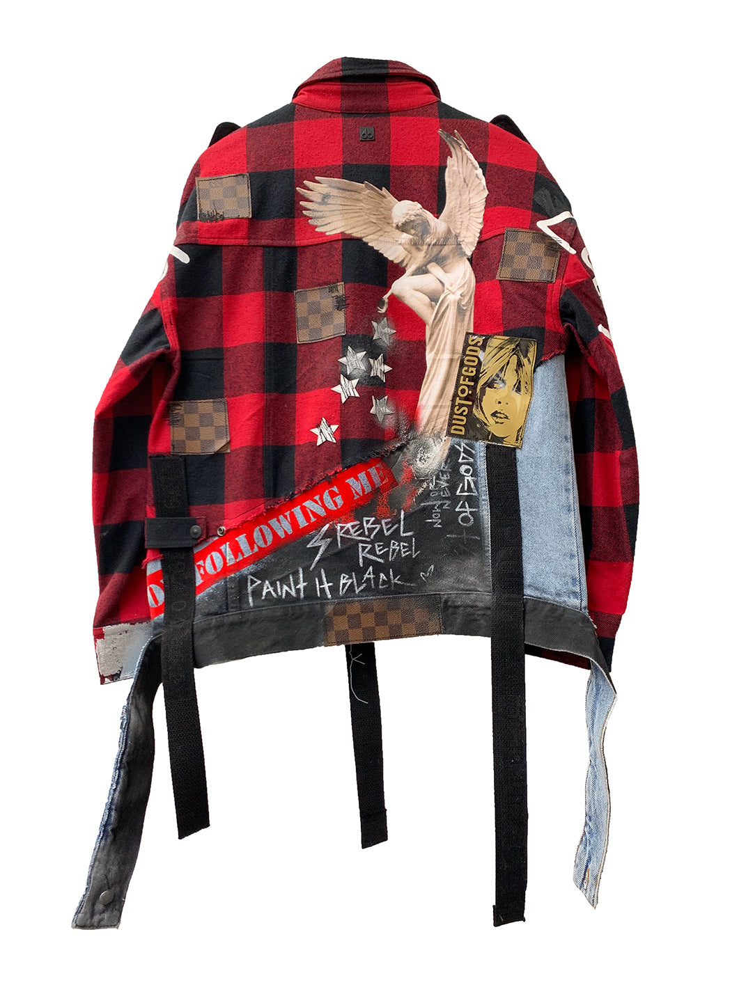This is not LV denim x plaid extended jacket