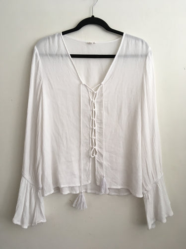 Blusa Blanca Lace up