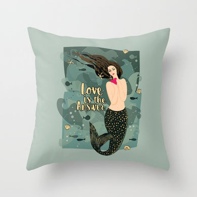 Mermaid, Love, Pillow, heart, cute, decor, design, home, style, interior, decoration