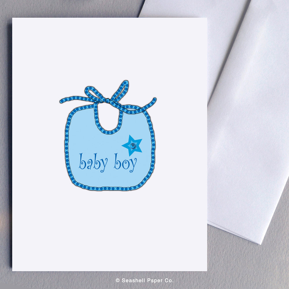 New Baby Boy Bib Card - seashell-paper-co