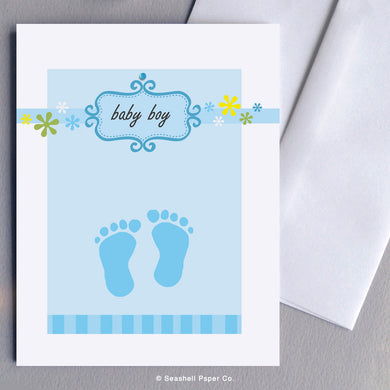 Greeting Cards, Baby Boy, Baby Boy Greeting Card, New Baby Boy, New Baby Boy Greeting Card, Baby Footprints, Baby Boy Footprints Card, New Baby Boy Footprints Card, New Baby Boy Footprints Greeting Card, Baby Boy Footprints Shower Greeting Card, New Baby Boy Footprints Shower Card, Seashell Paper Co., Made in Canada