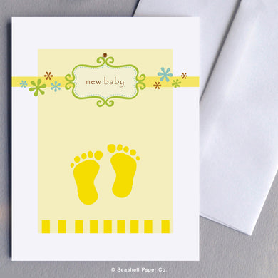 Greeting Cards, Baby, Baby Greeting Card, New Baby, New Baby Greeting Card, Footprints, Footprints Baby Card, Footprints New Baby Card, Footprints New Baby Greeting Card, Footprints Baby Shower Greeting Card, Footprints New Baby Shower Card, New Baby Footprints Shower Greeting Card, Seashell Paper Co., Made in Canada