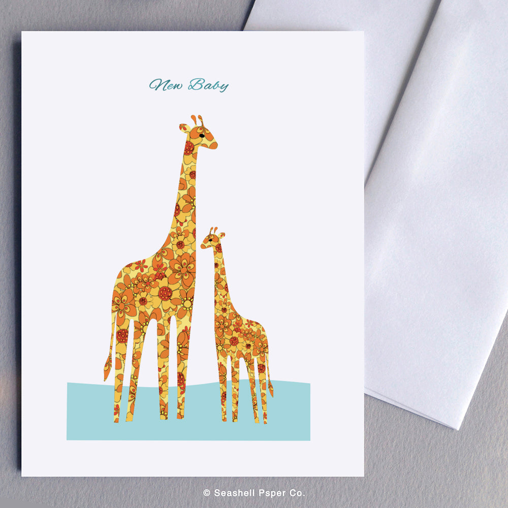 New Baby Giraffe Card Wholesale (Package of 6) - seashell-paper-co
