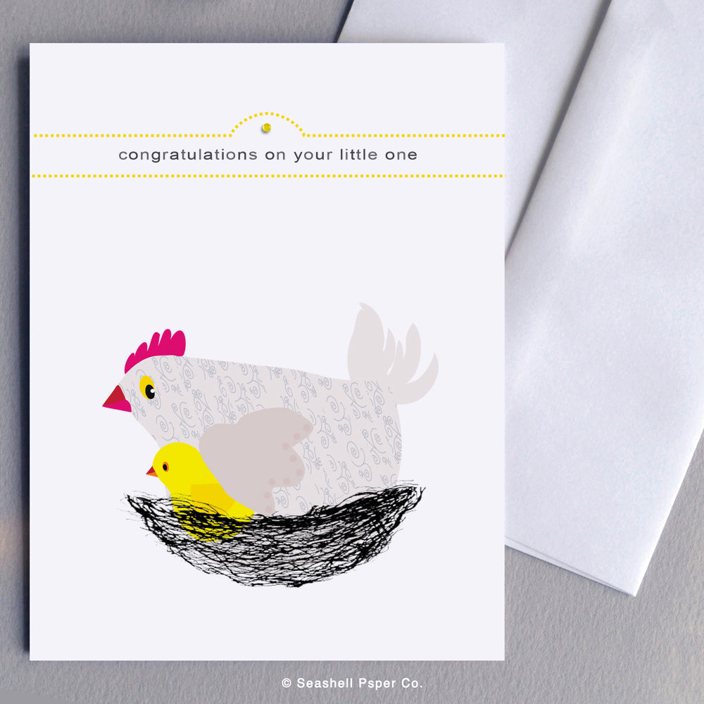Greeting Cards, Baby, Baby Greeting Card, Congratulations, New Baby Congratulations Greeting Card, Hen and Chick Baby Congratulations Card, Hen and Chick New Baby Congratulations Greeting Card, Hen and Chick Baby Shower Greeting Card, Hen and Chick New Baby Shower Greeting Card, Seashell Paper Co., Made in Canada