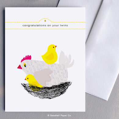 Greeting Cards, Baby, Baby Greeting Card, Congratulation on your new Baby card, Congratulations on your new Baby Greeting Card, Twin Babies, Twin Babies Greeting Card, Congratulation on your Twins, Congratulations on your Twins Greeting Card, Hen with Chicks Baby Greeting Card, Seashell Paper Co., Made in Canada, Sale