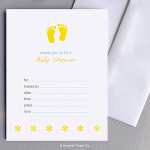 New Baby Shower Invitation (6 cards and 6 envelopes) - seashell-paper-co