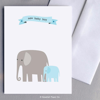 New Baby Boy Elephant Card Wholesale (Package of 6) - seashell-paper-co