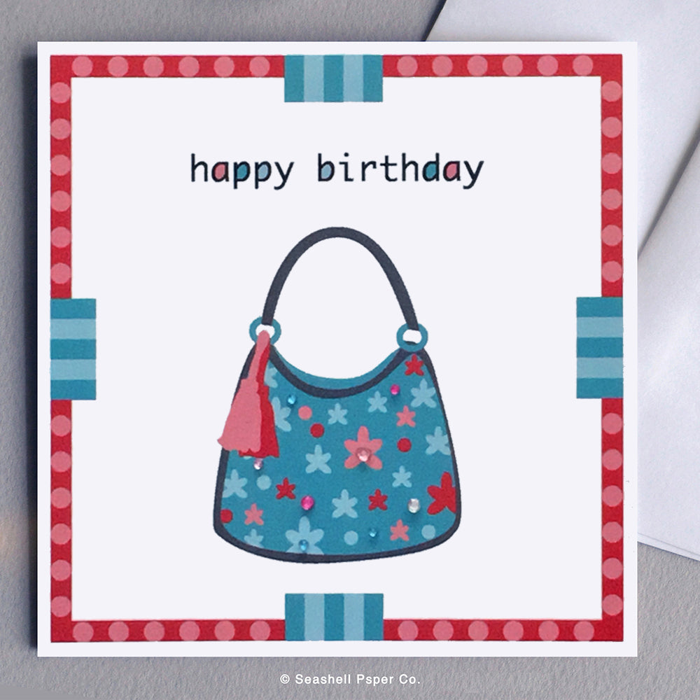 Greeting Cards, Birthday Cards, Birthday Greeting Cards, Happy Birthday Cards, Happy Birthday Greeting Card, Purse, Purse Birthday Card, Purse Happy Birthday Card, Purse Happy Birthday Greeting Card, Fashionista, Fashionista Happy Birthday Card, Seashell Paper Co., Stationary, Made in Canada, Sale