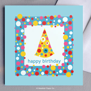 Greeting Cards, Birthday Cards, Birthday Greeting Cards, Happy Birthday Cards, Happy Birthday Greeting Card, Birthday Card, Happy Birthday Card, Happy Birthday Greeting Card, Birthday Hat, Birthday Hat Greeting Card, Happy Birthday Card, Happy Birthday Greeting Card, Seashell Paper Co., Stationary, Made in Canada, Sale