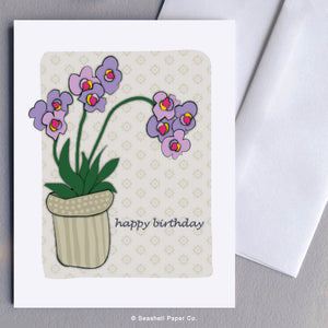 Greeting Cards, Birthday Cards, Birthday Greeting Cards, Happy Birthday Cards, Happy Birthday Greeting Card, Flowers, Orchid, Flowers Happy Birthday Card, Orchid Happy Birthday Card, Flower Happy Birthday Greeting Card, Orchid Happy Birthday Card, Seashell Paper Co., Stationary, Made in Canada, Sale