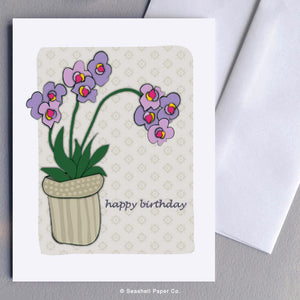 Birthday Orchid Card Wholesale (Package of 6) - seashell-paper-co