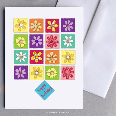 Birthday Flowers Card Wholesale (Package of 6) - seashell-paper-co