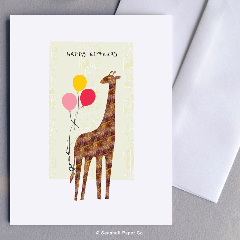 Greeting Cards, Birthday Cards, Birthday Greeting Cards, Happy Birthday Cards, Happy Birthday Greeting Card, Giraffe, Giraffe Birthday Card, Giraffe Happy Birthday Card, Giraffe Happy Birthday Greeting Card, Seashell Paper Co., Stationary, Made in Canada