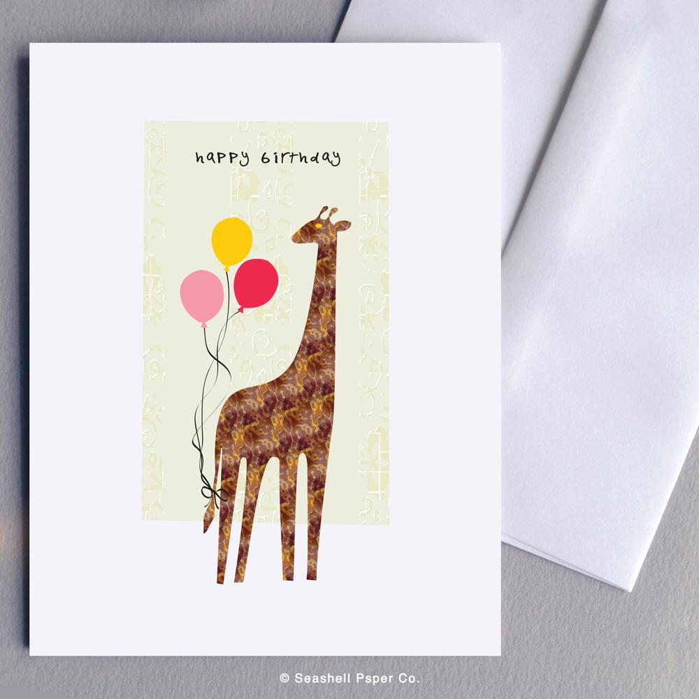 Birthday Giraffe Card Wholesale (Package of 6)