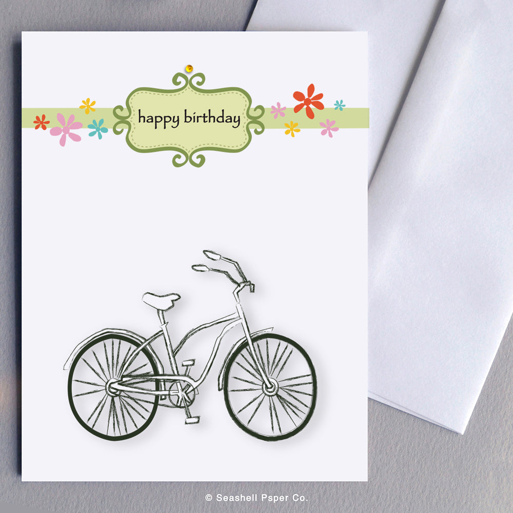 Greeting Cards, Birthday Cards, Birthday Greeting Cards, Happy Birthday Cards, Happy Birthday Greeting Card, Bicycle, Bicycle Birthday Card, Bicycle Happy Birthday Card, Bicycle Happy Birthday Greeting Card, Seashell Paper Co., Stationary, Made in Canada, Sale