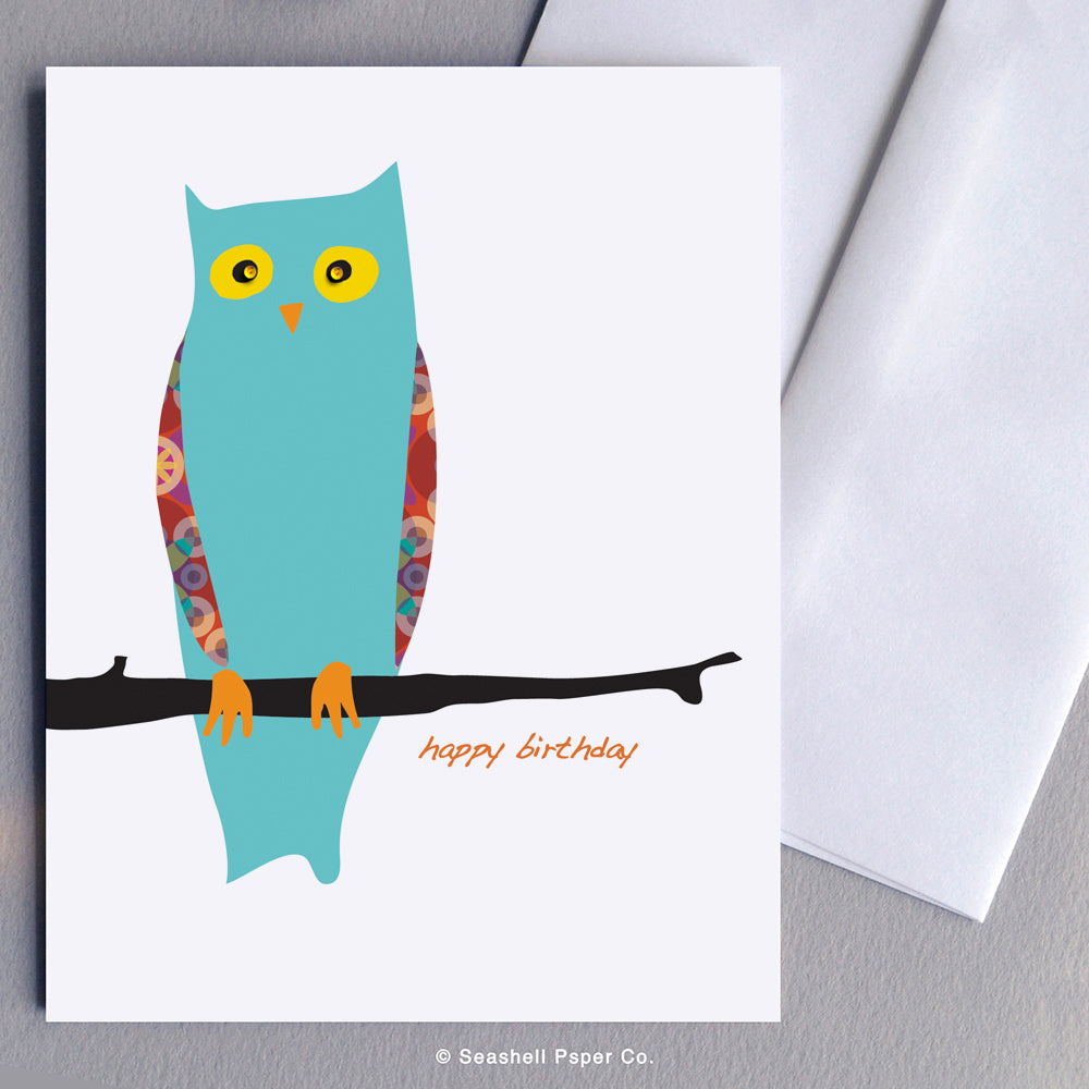 Greeting Cards, Birthday Cards, Birthday Greeting Cards, Happy Birthday Cards, Happy Birthday Greeting Card, Owl, Owl Birthday Card, Owl Happy Birthday Card, Owl Happy Birthday Greeting Card, Seashell Paper Co., Stationary, Made in Canada, Sale
