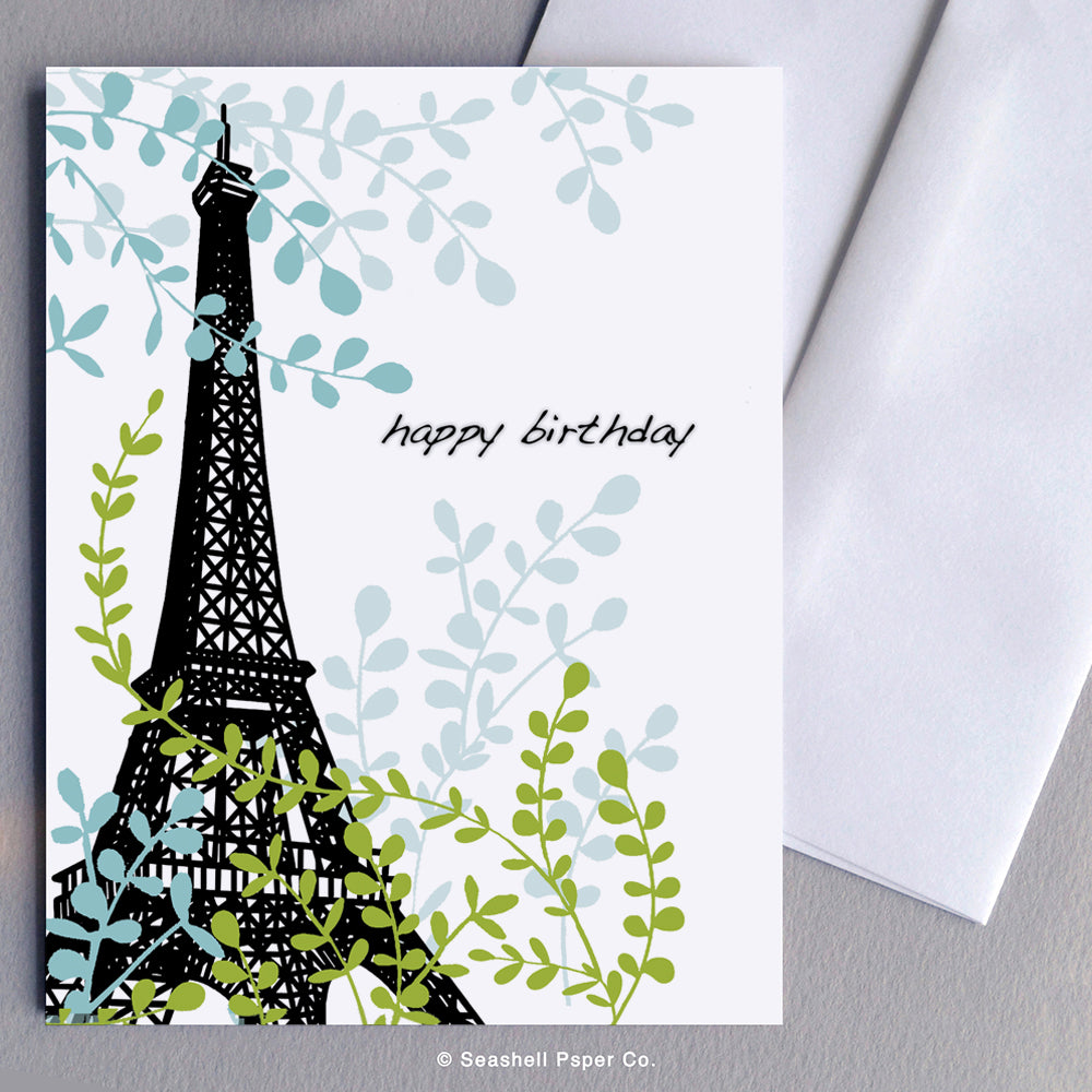Greeting Cards, Birthday Cards, Birthday Greeting Cards, Happy Birthday Cards, Happy Birthday Greeting Card, Eiffel Tower, Eiffel Tower Birthday Card, Eiffel Tower Happy Birthday Card, Eiffel Tower Happy Birthday Greeting Card, Seashell Paper Co., Stationary, Made in Canada, Sale