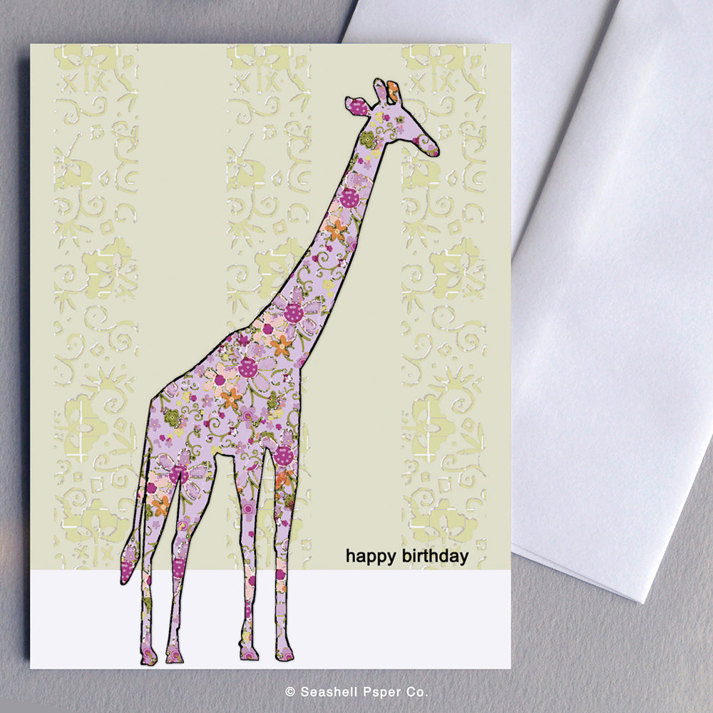Greeting Cards, Birthday Cards, Birthday Greeting Cards, Happy Birthday Cards, Happy Birthday Greeting Card, Giraffe, Giraffe Birthday Card, Giraffe Happy Birthday Card, Giraffe Happy Birthday Greeting Card, Seashell Paper Co., Stationary, Made in Canada, Sale