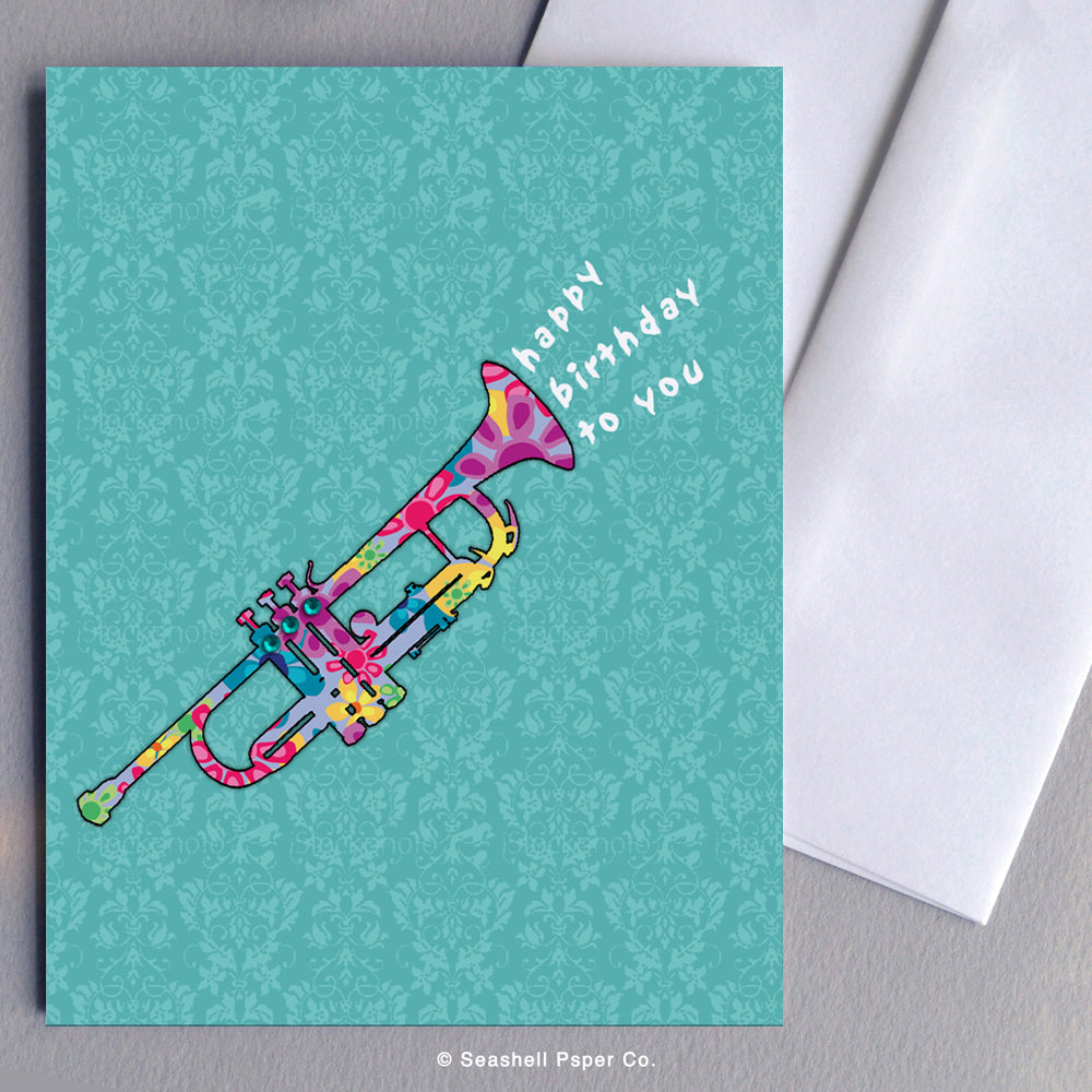 Birthday Trumpet Card - seashell-paper-co