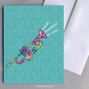 Birthday Trumpet Card Wholesale (Package of 6) - seashell-paper-co