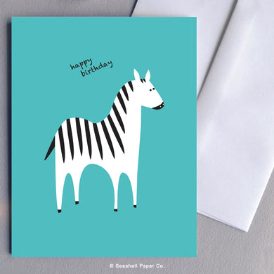 Greeting Cards, Birthday Cards, Birthday Greeting Cards, Happy Birthday Cards, Happy Birthday Greeting Card, Zebra, Zebra Birthday Card, Zebra Happy Birthday Card, Zebra Happy Birthday Greeting Card, Seashell Paper Co., Stationary, Made in Canada