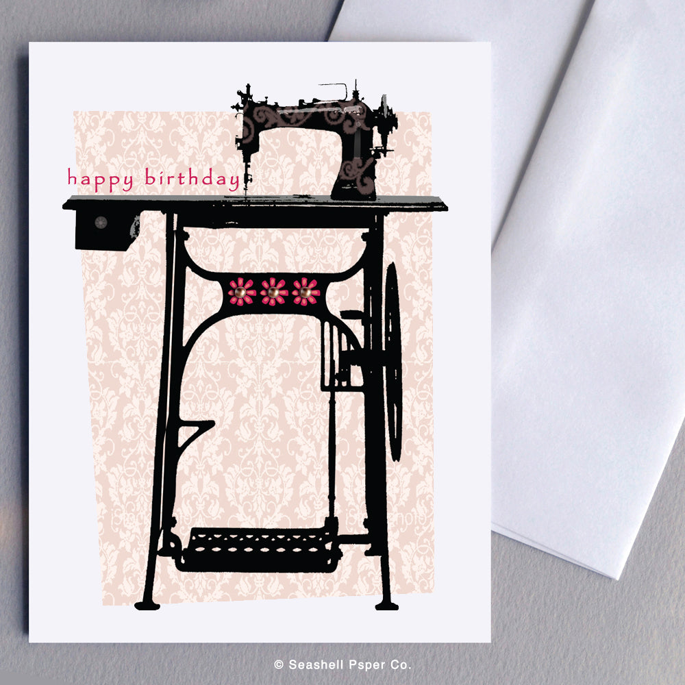 Birthday Vintage Sewing Machine Card - seashell-paper-co