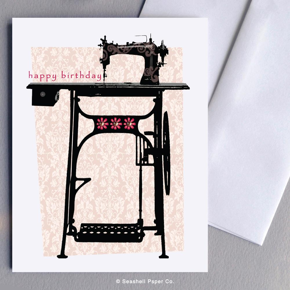 Birthday Vintage Sewing Machine Card Wholesale (Package of 6) - seashell-paper-co