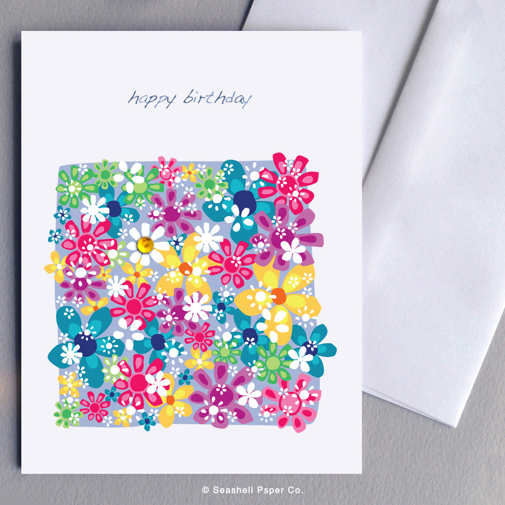 Greeting Cards, Birthday Cards, Birthday Greeting Cards, Happy Birthday Cards, Happy Birthday Greeting Card, Flowers, Floral, Flowers Happy Birthday Card, Floral Happy Birthday Card, Flowers Happy Birthday Greeting Card, Floral Happy Birthday Card, Seashell Paper Co., Stationary, Made in Canada, Sale
