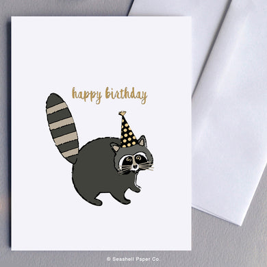 Greeting Cards, Birthday Cards, Birthday Greeting Cards, Happy Birthday Cards, Happy Birthday Greeting Card, Raccoon, Raccoon Birthday Card, Raccoon Happy Birthday Card, Raccoon Happy Birthday Greeting Card, Raccoon in Birthday Hat Happy Birthday Greeting Card, Seashell Paper Co., Stationary, Made in Canada