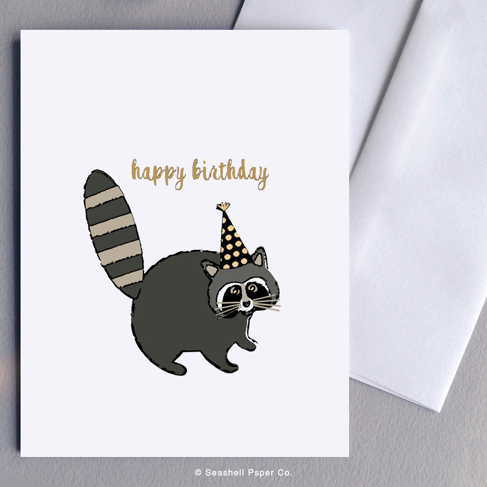 Birthday Raccoon Card Wholesale (Package of 6) - seashell-paper-co