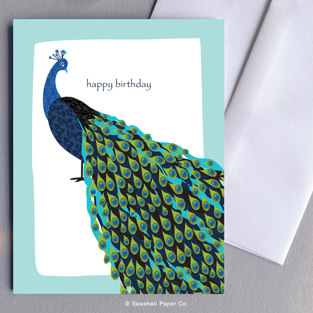 Greeting Cards, Birthday Cards, Birthday Greeting Cards, Happy Birthday Cards, Happy Birthday Greeting Card, Peacock, Peacock Birthday Card, Peacock Happy Birthday Card, Peacock Happy Birthday Greeting Card, Seashell Paper Co., Stationary, Made in Canada
