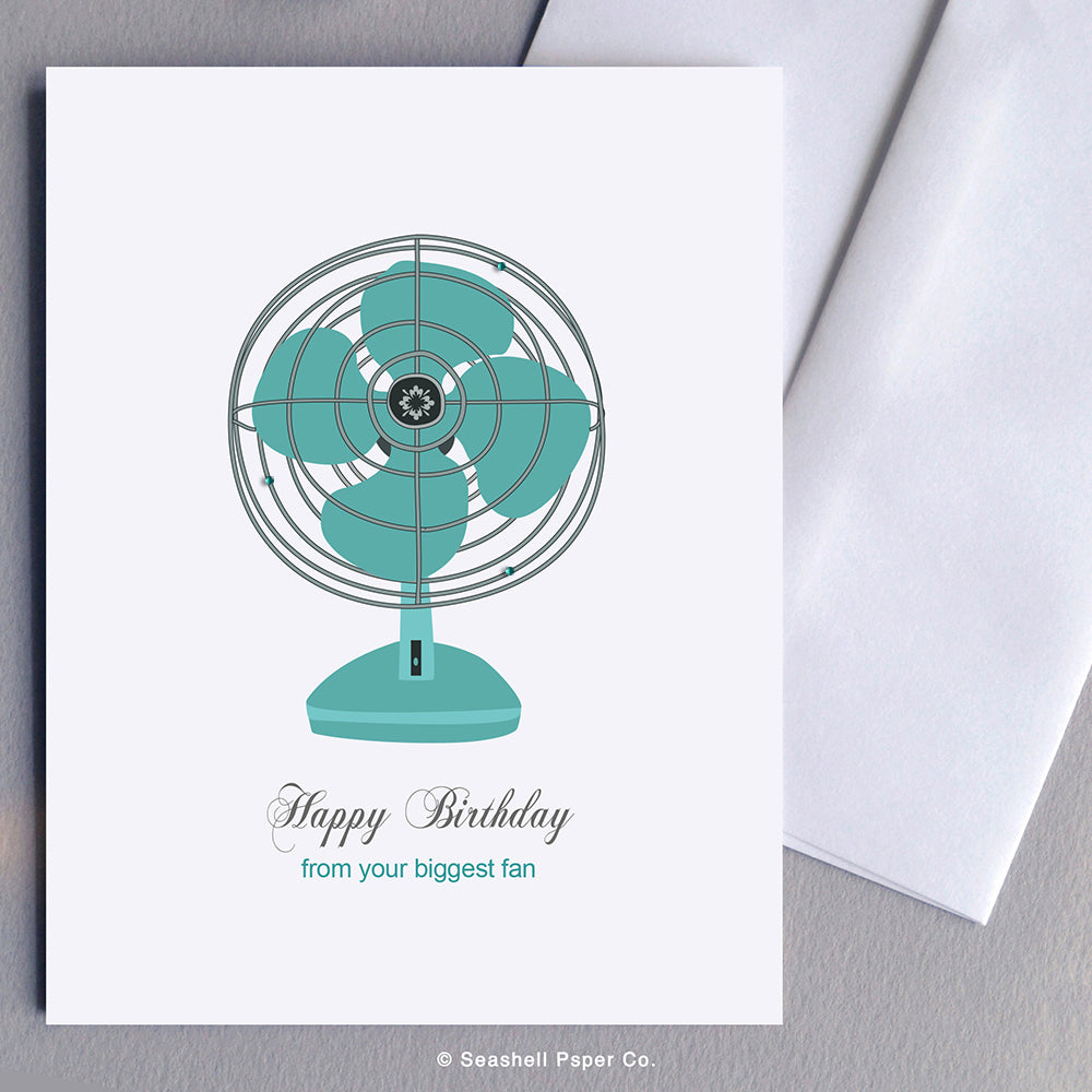 Greeting Cards, Birthday Cards, Birthday Greeting Cards, Happy Birthday Cards, Happy Birthday Greeting Card, Vintage Fan, Vintage Fan Happy Birthday Card, Vintage Fan Happy Birthday Greeting Card, From your biggest fan, Happy Birthday from your biggest Fan, Seashell Paper Co., Stationary, Made in Canada
