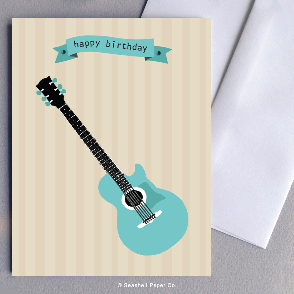 Greeting Cards, Birthday Cards, Birthday Greeting Cards, Happy Birthday Cards, Happy Birthday Greeting Card, Guitar, Guitar Birthday Card, Guitar Happy Birthday Card, Guitar Happy Birthday Greeting Card, Seashell Paper Co., Stationary, Made in Canada, Sale