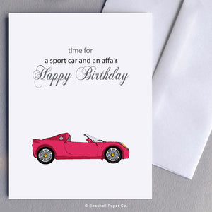 Greeting Cards, Birthday Cards, Birthday Greeting Cards, Happy Birthday Cards, Happy Birthday Greeting Card, Sports Car, Sports Car Birthday Card, Sports Car Happy Birthday Card, Midlife Crisis Happy Birthday Greeting Card, Midlife Crisis, Midlife Crisis Birthday Card, Seashell Paper Co., Stationary, Made in Canada