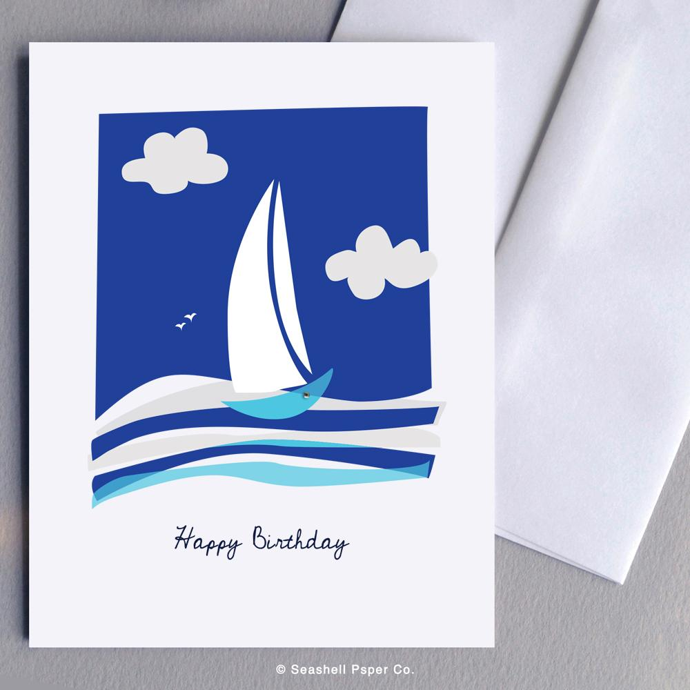 Birthday Boat Card Wholesale (Package of 6) - seashell-paper-co