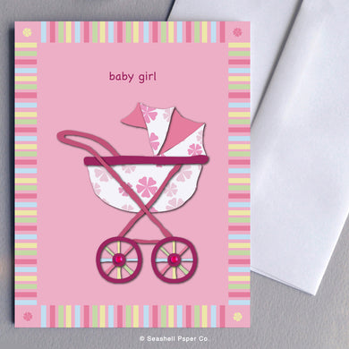 Greeting Cards, Baby Girl, Baby Girl Greeting Card, New Baby Girl, Stroller, Baby Stroller Baby Girl Card, Baby Stroller New Baby Girl Card, Baby Stroller New Baby Girl Greeting Card, Baby Stroller Baby Girl Shower Greeting Card, Stroller Baby Girl Shower Card, Seashell Paper Co., Stationary, Made in Canada, Sale