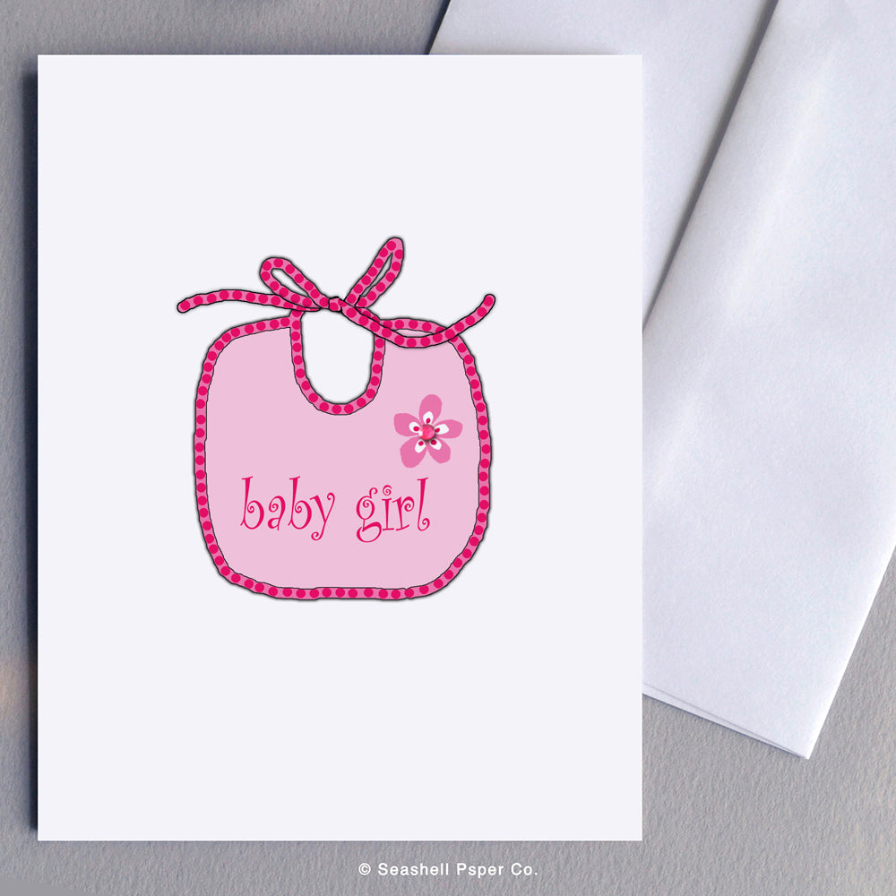 New Baby Girl Bib Card - seashell-paper-co