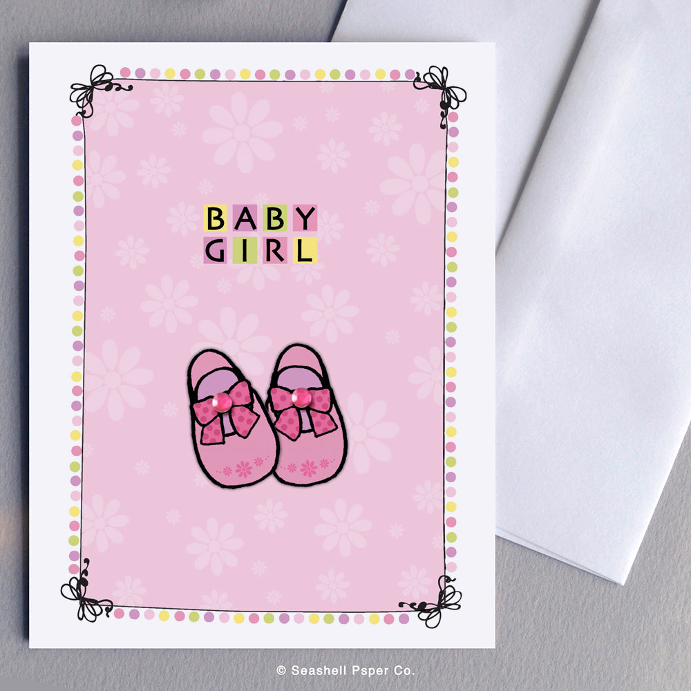 Greeting Cards, Baby Girl, Baby Girl Greeting Card, New Baby Girl, New Baby Girl Greeting Card, Baby Shoes Baby Girl Card, Baby Shoes New Baby Girl Card, Baby Shoes New Baby Girl Greeting Card, Baby Shoes Baby Girl Shower Greeting Card, Baby Shoes New Baby Girl Shower Card, Seashell Paper Co., Made in Canada, Sale